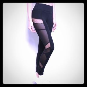 Black Mesh Yoga and workout leggings